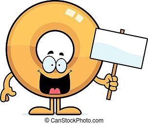 Cartoon Doughnut Sign - A cartoon illustration of a doughnut...