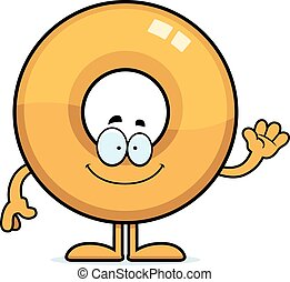 Cartoon Doughnut Waving