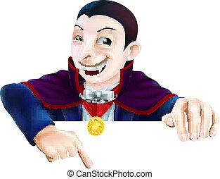 Cartoon Dracula Pointing Down - Cartoon Count Dracula...