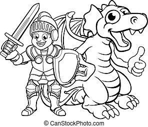Cartoon Dragon and Knight - A cartoon dragon and knight boy...