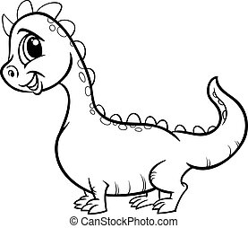 Black and White Cartoon Illustration of Cute Dragon Fantasy Character for Coloring Book
