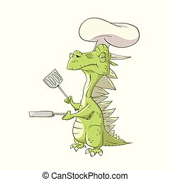 Cartoon Dragon Cook