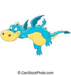 Cartoon dragon flying