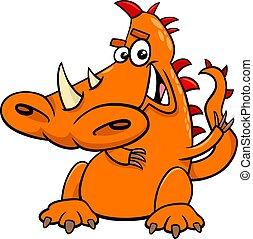 Cartoon Illustration of Funny Dragon Fantasy Fictional Animal Character