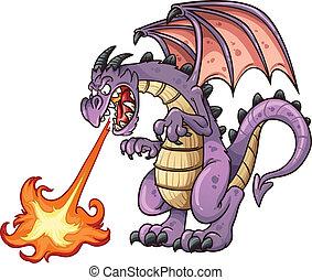Cartoon dragon spitting fire. Vector clip art illustration...