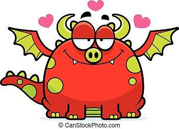 Cartoon Dragon in Love - A cartoon illustration of a dragon...