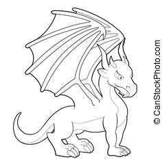 Cartoon dragon line-art