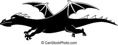 Cartoon dragon, silhouette