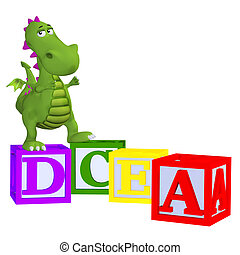 Cartoon dragon with abc blocks - isolated on the white...