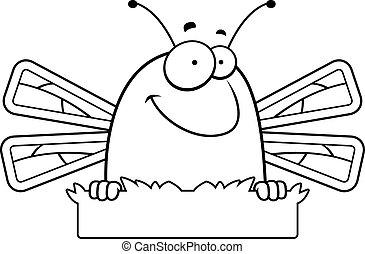Cartoon Dragonfly Grass Sign