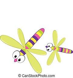 Two cartoon dragonfly. Vector illustration