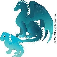 Cartoon dragons family
