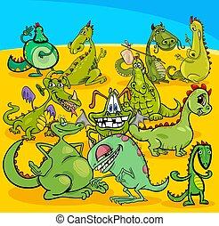 cartoon dragons fantasy characters group
