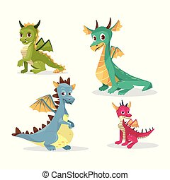 Cartoon dragons vector illustration of funny fairy magic smiling monster and happy cute creatures