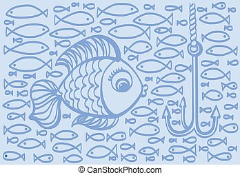 Cartoon drawing illustration of big fish with small fishes background