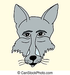 Cartoon drawing of a muzzle of a gray wolf