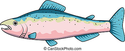 Cartoon drawing of a trout on a transparent background,...