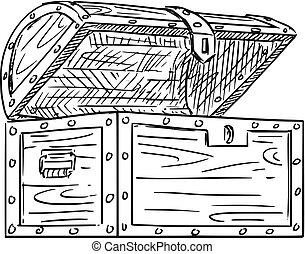 Cartoon Drawing of Empty Open Wooden Treasure Chest