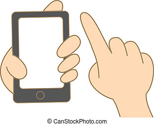 cartoon drawing of hand hold and use touch screen mobile...
