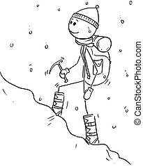 Cartoon Drawing of Mountaineer or Alpinist Walking Through Snow