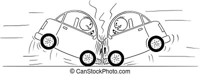Cartoon Drawing of Two Cars Crash Accident