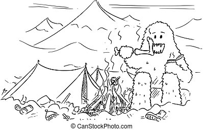 Cartoon Drawing of Yeti Who is Eating or Devouring Alpinist ...