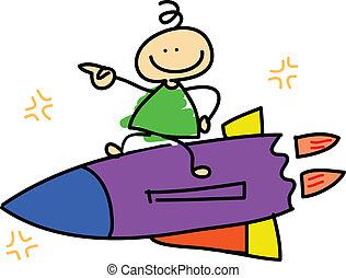 cartoon dreamboy riding rocket