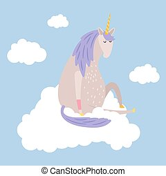 Cartoon dreaming unicorn flies on cloud vector illustration