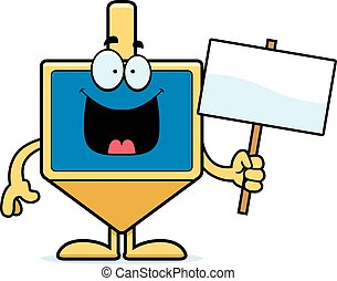 Cartoon Dreidel Sign - A cartoon illustration of a dreidel...