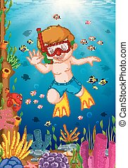 cartoon, dreng, dykning, den, hav
