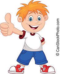 cartoon, dreng, give, du, tommelfingre oppe