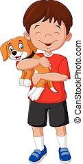 cartoon, dreng, holde, hans, hundehvalp