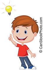 cartoon, dreng, hos, stor ide