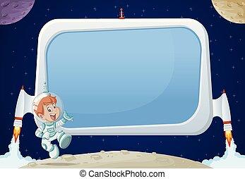 cartoon, dreng, ind, den, space.