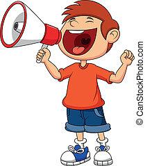 cartoon, dreng, råb, og, råbe, ind