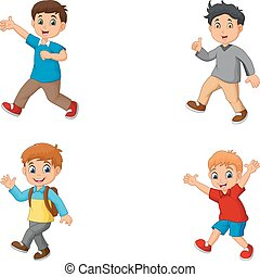 cartoon, drenge, samling, sæt