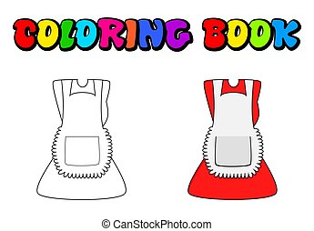 cartoon dress with pinafore coloring book, outline isolated on white background