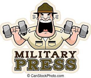 Cartoon Drill Sergeant Military Press - A cartoon...