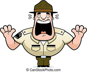 Cartoon Drill Sergeant Scared - A cartoon illustration of a...