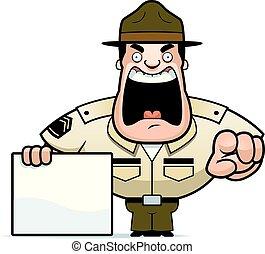 Cartoon Drill Sergeant Sign - A cartoon illustration of a...