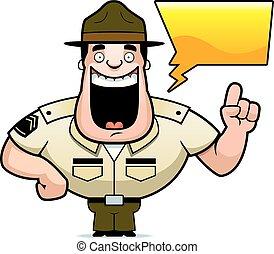 Cartoon Drill Sergeant Talking - A cartoon illustration of a...