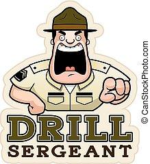 Cartoon Drill Sergeant Text - A cartoon illustration of a...