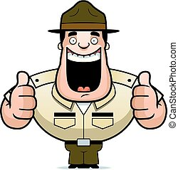 Cartoon Drill Sergeant Thumbs Up - A cartoon illustration of...