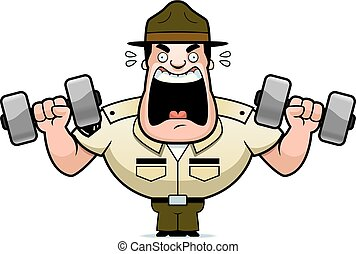 Cartoon Drill Sergeant Weights
