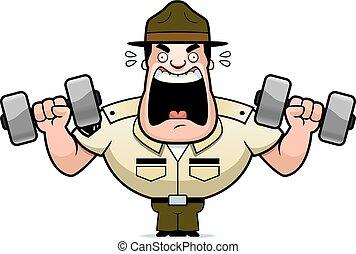 Cartoon Drill Sergeant Weights