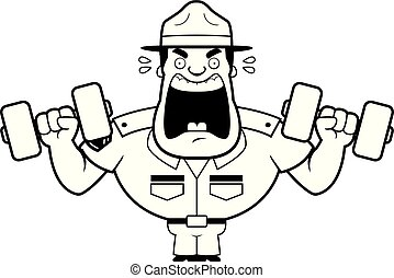 Cartoon Drill Sergeant Weights - A cartoon illustration of a...