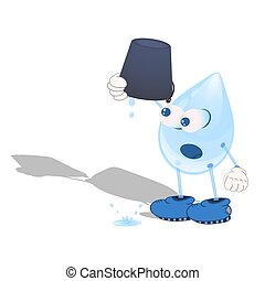 cartoon droplet with eyes and boots pouring a drop of water from an empty bucket