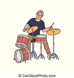 Cartoon drummer sitting and playing music on drum kit