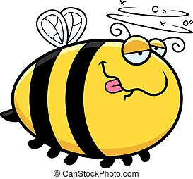 Cartoon Drunk Bee - A cartoon illustration of a bee looking...