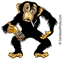 cartoon drunk chimpanzee great ape holding empty bottle of alcohol and smoking a cigarette. Chimp monkey alcoholic. Isolated vector illustration